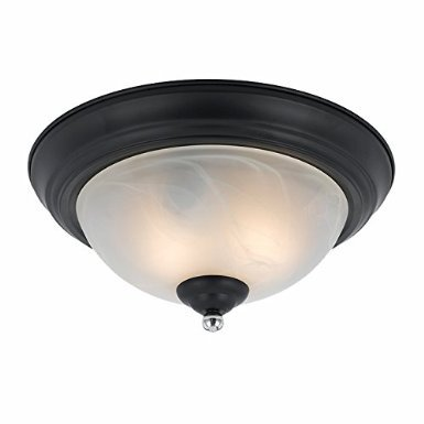 Lumenno Lighting 8004-06-14 Black Finish with Chrome Accents Finish Flush Mount and White Swirl Alabaster Glass Shades