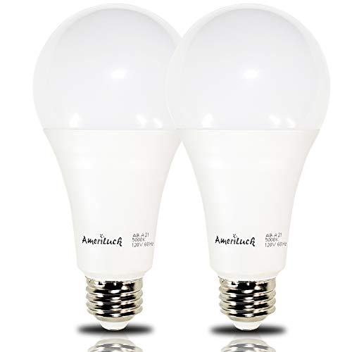 - AmeriLuck 150W Equiv. A21 LED Light Bulb, 2200Lumens 20W Non-Dimmable 5000K Daylight (2 Pack)