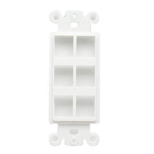 AllSmartLife® QuickPort Decora Wall Plate Insert for 6-Port Keystone Jack - White