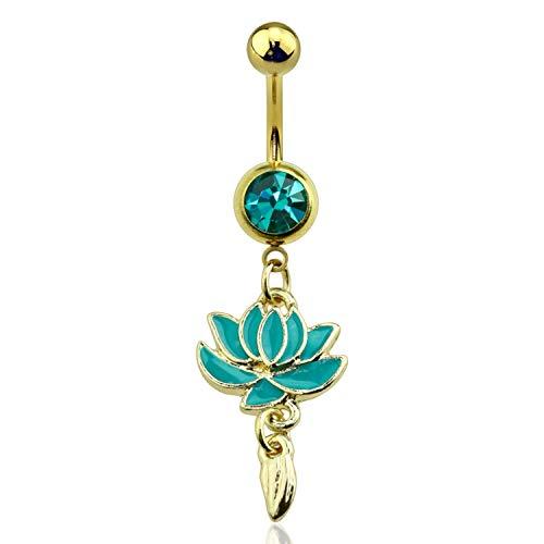 Jade Lotus Flower with Emerald Gem Gold Dangle Navel Belly Ring Size 14GA - Flower Lotus Jade