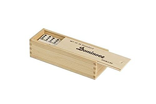 Double 6 Standard Domino Tiles with Spinner in Wooden Box - Cream