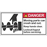 Vinyl ANSI Warning Labels - Danger Moving Parts Keep Hands Clear - 3-1/2''h x 7''w, White MOVING PARTS CAN CRUSH AND CUT. KEEP HANDS CLEAR. LOCKOUT/TAGOUT BEFORE - Super-Stik Adhesive