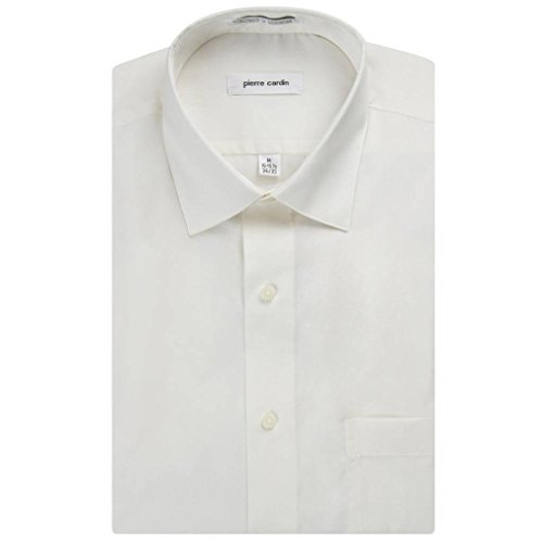 Pierre Cardin Men's Regular Fit Long Sleeve Solid Dress Shirt - ECRU - 16.5 4-5