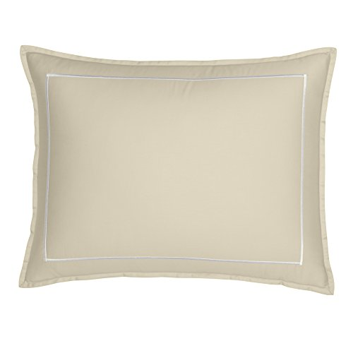 - FlatIron Hotel Satin Stitch Standard Sham, Natural/White