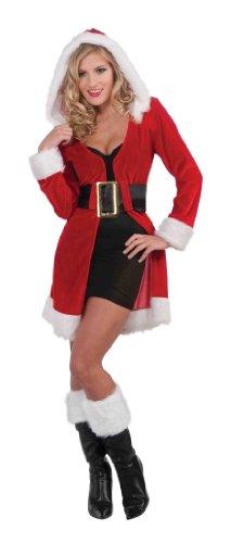 Forum Novelties Women's Enchanting Miss Christmas Costume Robe Jacket, Red/White, Standard (Misses Claus Costume)