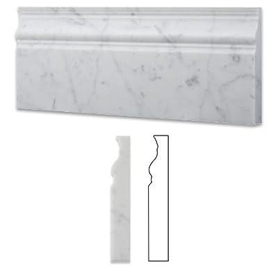 "Carrara White 4"" X 12"" Marble Polished Baseboard Molding"