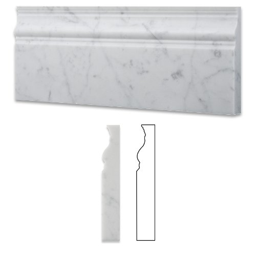 Italian Carrara White Marble Honed 5 X 12 Baseboard - Box of 5 Pcs.