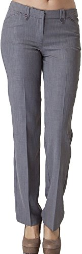 Vitamina USA Buttoned Slim Fit Dress Pants #2576 (L, Gry) by Vitamina USA