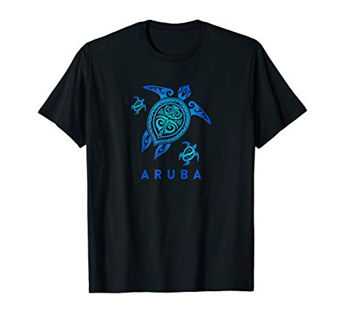 Aruba T-Shirt Sea Blue Tribal Turtle