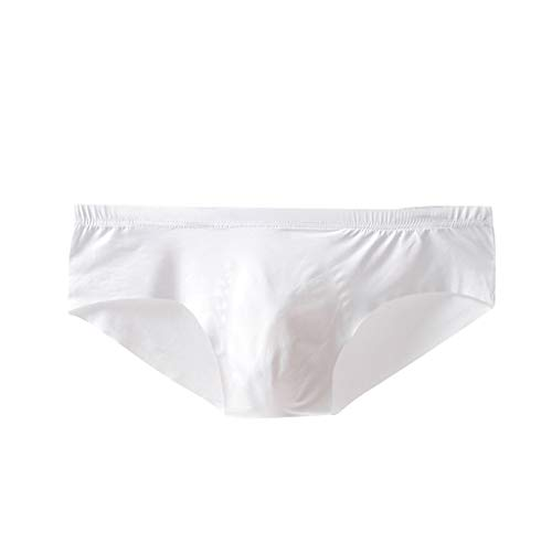 JustWin Sexy Pure Color Soft Briefs U Convex Underpants Comfortable Knickers Shorts Sexy Underwear White ()