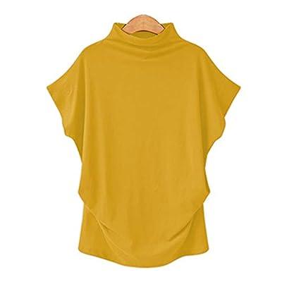 Women Blouse Women Turtleneck Plus Size Short Sleeve Cotton Solid Casual Blouse Top T Shirt at  Women's Clothing store