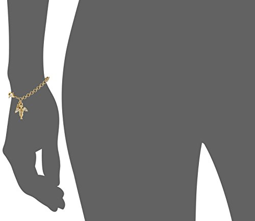Symbols of Faith Inspirations 14k Gold-Dipped Crystal Angel Chain Link Charm Bracelet, 7