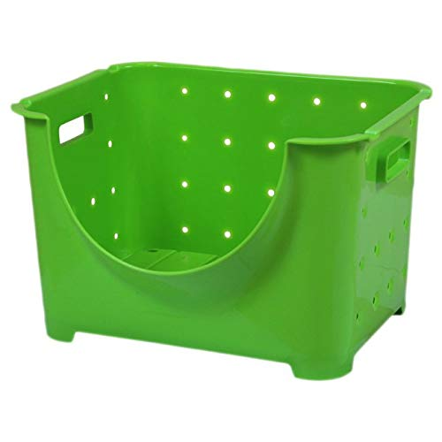 (Basicwise Stackable Plastic Storage Container Stacking Bins, Green)