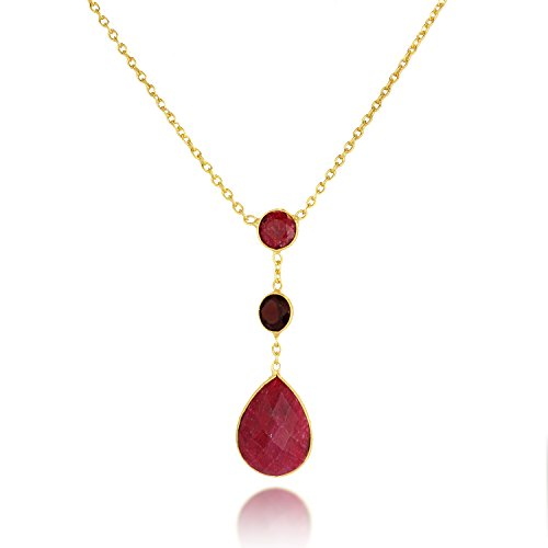18k Ruby Necklace (18K Gold-Plated Red Simulated Ruby and Garnet Three (3) Gemstone Long Pendant Necklace, 28 inches)