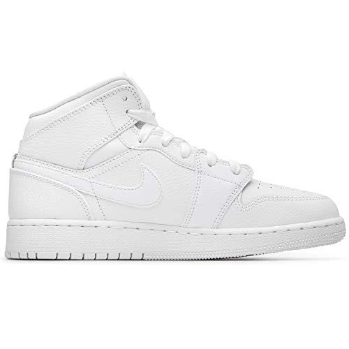 Jordan Nike Men's Air 1 MID White/White/White 554724-129 (Size: 8)