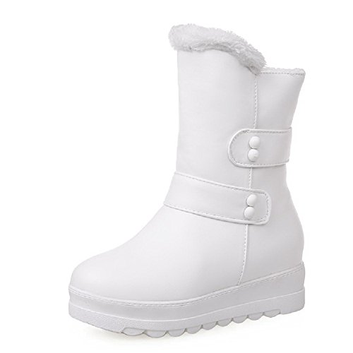White On Pull AgooLar Material Toe Women's Heels Round Low Closed Solid Boots Soft F67Uq