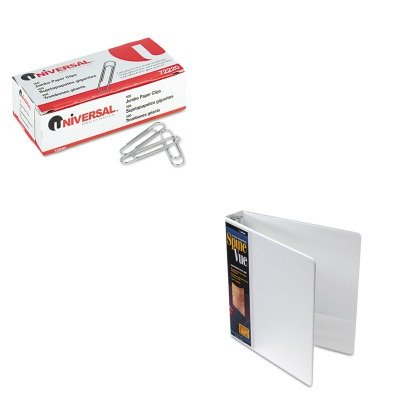 KITCRD16703UNV72220 - Value Kit - Cardinal SpineVue Locking Round Ring Binder (CRD16703) and Universal Smooth Paper Clips (UNV72220) by Cardinal