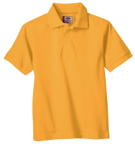 Dickies Little Boys' Short Sleeve Pique Polo Shirt, Gold, Large