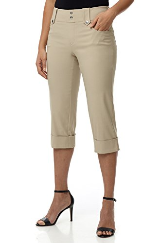 Rekucci Women's Ease in to Comfort Fit Modern Classic Cuffed Capri (16,Stone)