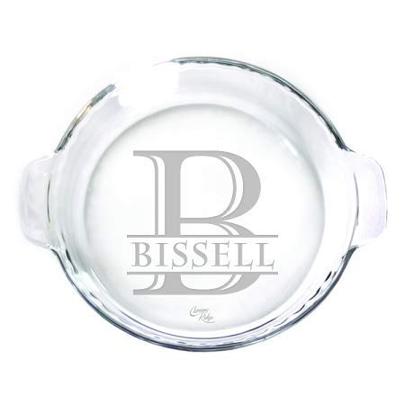 "Engraved glass 9"" Pie Plate - Personalized - Monogram and Name"
