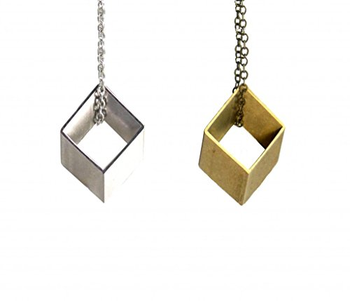 Womens Rhombus Geometric Necklace Brass or Silver, 22-26