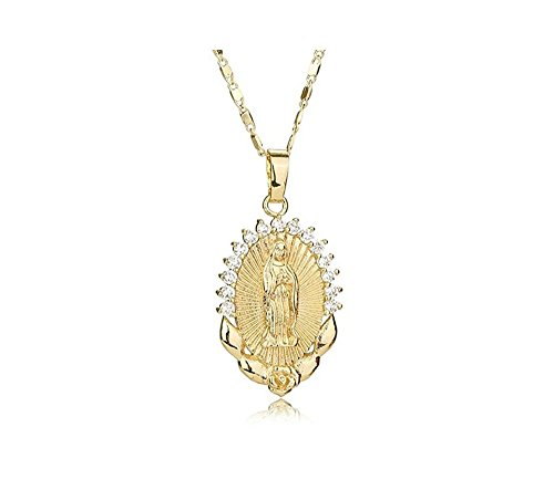 Ever Fairy Mother Gift Fashion Cameo Design Virgin Mary Necklace Jewelry Catholic Christian Crystal Rhinestone Mary Pendant (Gold)