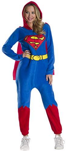 Superheroes Onesies For Adults (Rubie's DC Super Heroes Women's Superman Hooded Jumpsuit, As As Shown,)