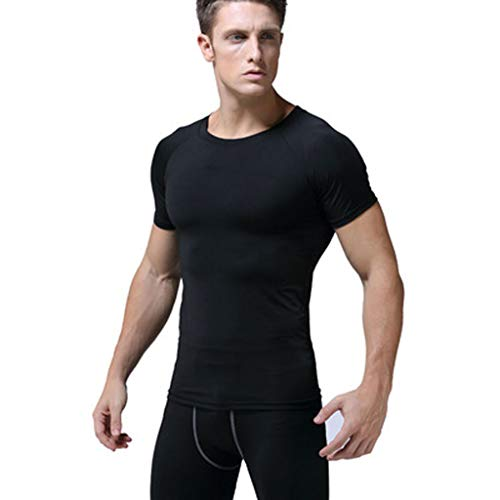 Men Breathable T-shirt Clearance, Quick Drying Training Top Soild Color PRO Short Sleeve Fitness Running Basketball Tights Shirts lkoezi ()