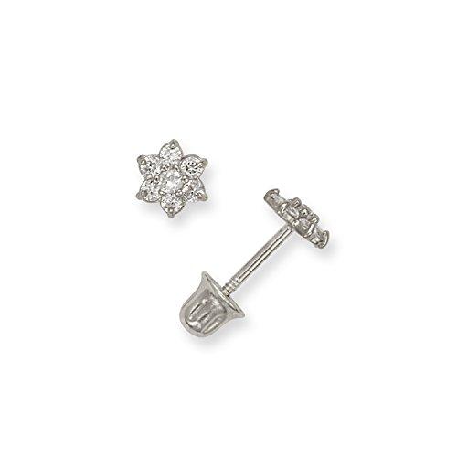 14K Girls Cubic Zirconia CZ Small Flower Screw-back Stud Earrings (white or yellow) (white-gold)
