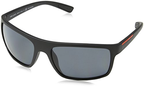 Prada Linea Rossa Men's PS 02QS Black Rubber/Grey - Linea Prada Polarized Rossa