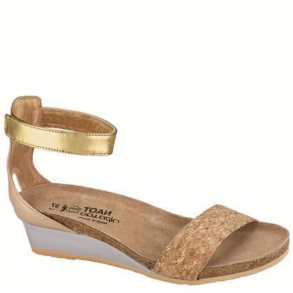 NAOT Footwear Women's Pixie Cork Lthr/Champagne Lthr/Gold Lthr Wedge Sandal 36 M EU