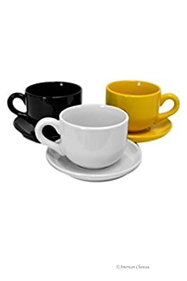 Set 3 Assorted European Coffee Latte Large Mugs Cups 14oz/415ml Bowls with Saucers
