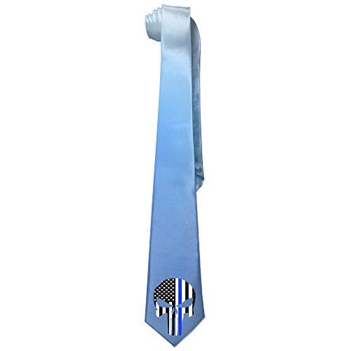 [Ggift Thin Blue Line Skull Mens Fashion Business Solid Necktie Ties] (Matt Barkley Costume)