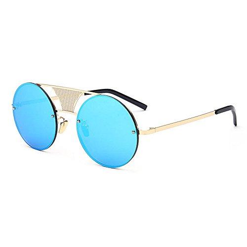 Couleur Protection Hommes Conduire Lunettes UV Soleil Bleu pour Unisexe Plage Steampunk Peggy pour Air Cadre Bleu Gu Voyage en Métal Femmes de Plein PXqRT
