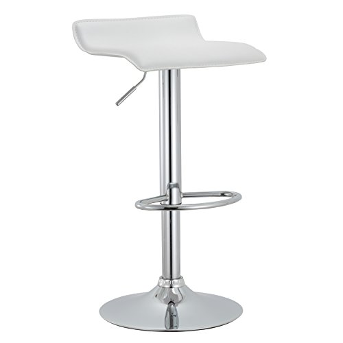 AC Pacific Contoured Contemporary Backless Swivel Height Adjustable Hydraulic Lift Chrome Base Bar Stool with Footrest (White) - Set of 2