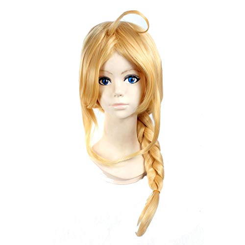 HOOLAZA Blonde Long Braided Ponytail Wig Fullmetal Alchemist Edward Elric for the Halloween Party Cosplay Wigs -