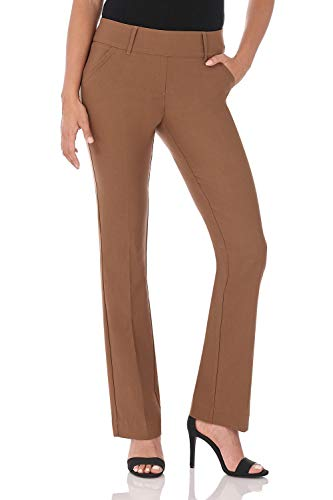 Rekucci Women's Ease in to Comfort Fit Classic Bootcut Pant w/Tummy Control (12,Chestnut) ()