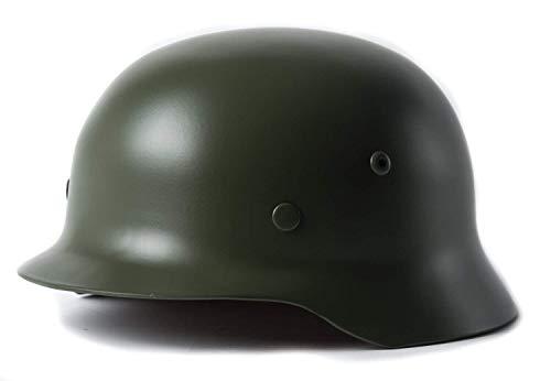 YaeTek Green WWII WW2 German Elite Wh Army M35 M1935 Steel Helmet Stahlhelm - Metal Replica Helmet