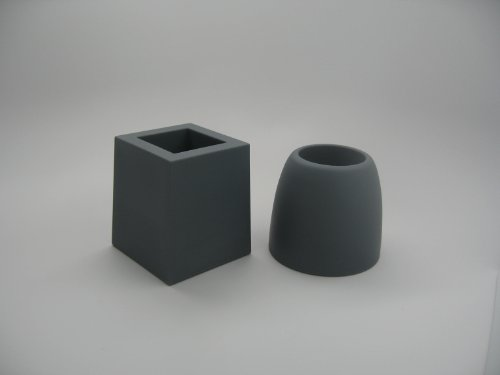 Carl Pen & Pencil Stand. PAIR. GREY. Modern Dome and Cube designs. Weighted soft touch but firm colorfast rubber-like body.