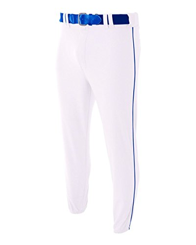 Youth XL White with Royal Side Piping Baseball/Softball Pants Pro Style Elastic Bottom with Side Color Piping A4 Youth Baseball Pant
