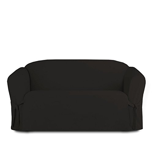 Linen Store Microsuede Slipcover Furniture Protector Cover, Black, ()