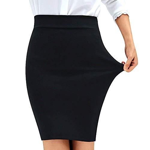 (QANZEEKI Colorfast Pencil Skirts Elastic High Waist Knee Length Bodycon Bandage Skirt for Office (Black,L))