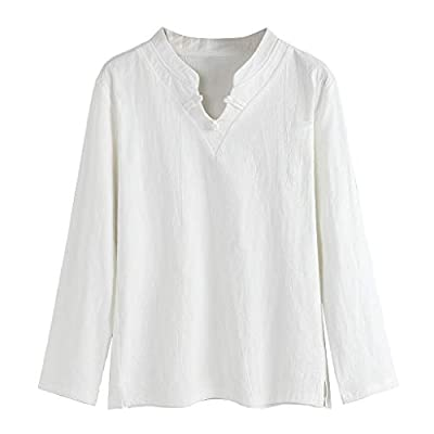 WINJUD Mens Top Long Sleeve V-Neck T Shirt Ethnic Style Cotton Linen Casual Solid Pullover