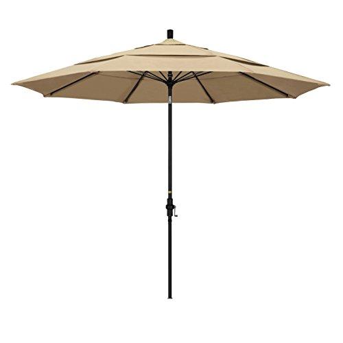 California Umbrella 11' Round Fiberglass Rib Market Umbrella, Crank Lift, Collar Tilt