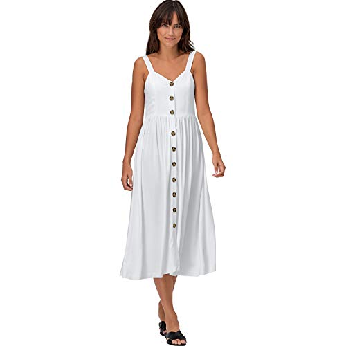 (Ellos Women's Plus Size Button-Front A-Line Dress - White, 20)