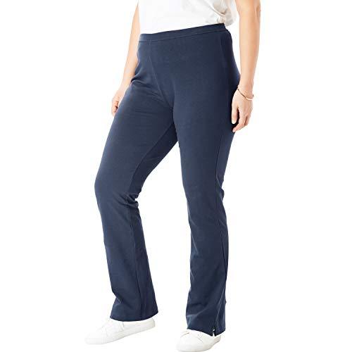 Woman Within Women's Plus Size Petite Stretch Cotton Bootcut Yoga Pant - Navy, 4X