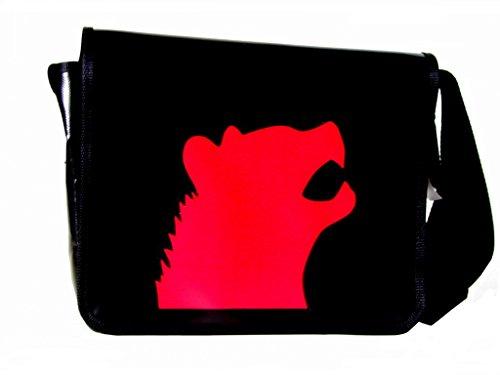 Borsa A Tracolla Motivo Animale Rosso Iena H 23, B 30, T 10
