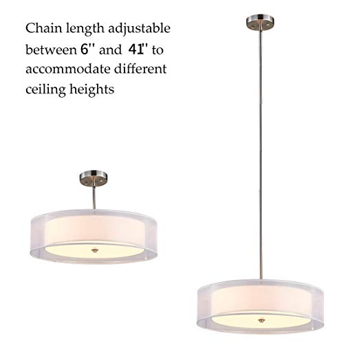TZOE Drum Light,Double Drum Chandelier,White 3 Light Drum Pendant Light,20