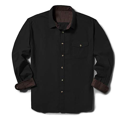 ZIOLOMA Men's Long Sleeve Flannel Solid Dress Shirts Western Button Down Shirts Black