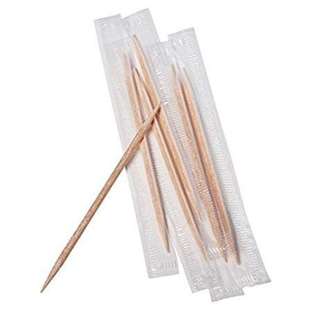 (500 Individually Wrapped Double Pointed Round Wooden Toothpicks)